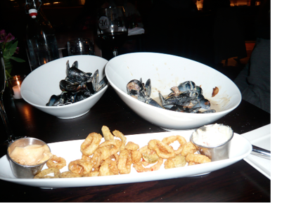 FOR STARTERS, SMOKED BACON MUSSELS AND CRISPY CALAMARI